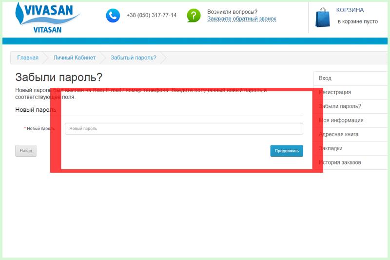 Новый пароль будет отправлен на указанный e-mail (номер телефона). Введите его и нажмите Продолжить.